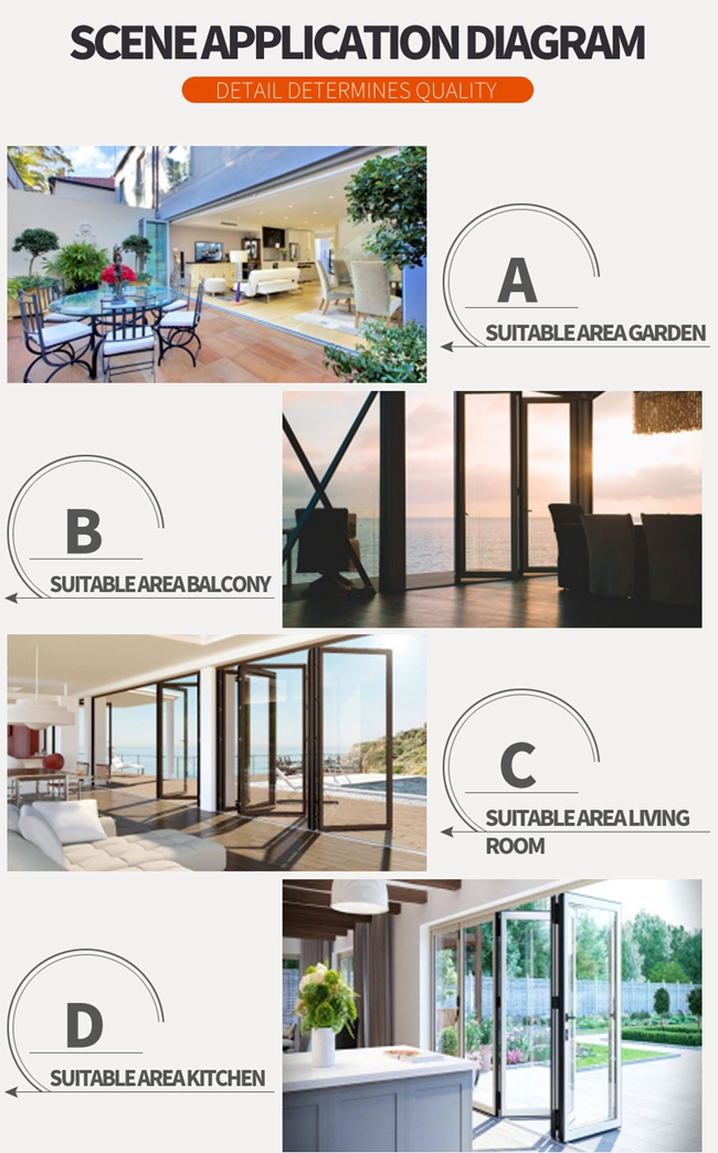 frameless folding glass doors exterior,room dividers accordion folding doors,Scene Application Diagram 1