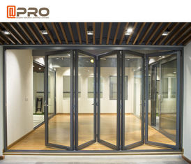 Aluminium Exterior Bi Fold Sliding Doors Foldable Glass Doors ISO Certification folding sliding patio doors
