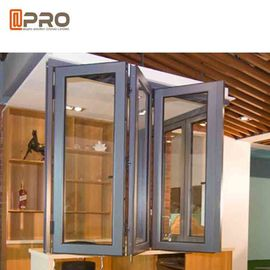 Wind Proof Aluminum Bifold Windows Color Optional With Insulated Double Glass balcony folding window hardware folding