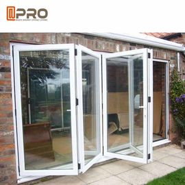 Low - E Glass Aluminum Folding Doors / Accordion Folding Doors Custom White Color