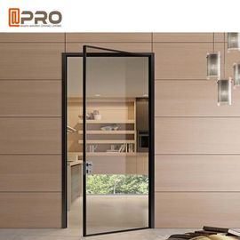 Black Color Powder Coated Aluminium Glass Hinged Door For Housing Project Door hinge black hinge for bifold doors
