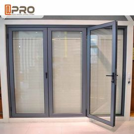 Powder Coating Grey Aluminum Folding Doors With Double Glass Water Resistant custom folding door mdf folding door