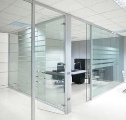 China Movable Modern Office Partitions , Interior Frosted Glass Pillar Partition factory