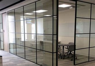 China ISO Modern Half Height Glass Cubicle Dividers  , Boss Office Partition Wall factory