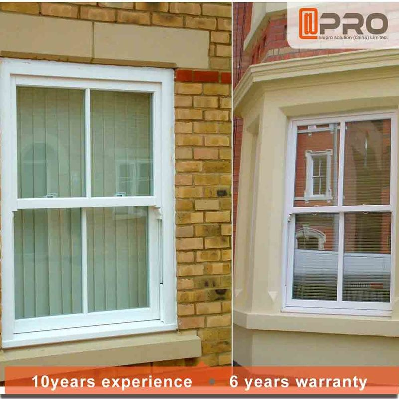 Vertical Aluminium Double Hung Window For Houses / Glass Top Hung Window