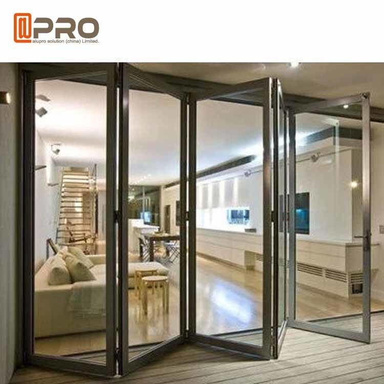 Aluminium Exterior Patio Folding Doors Grey Color Thermal Break Double Glass commercial accordion folding doors double