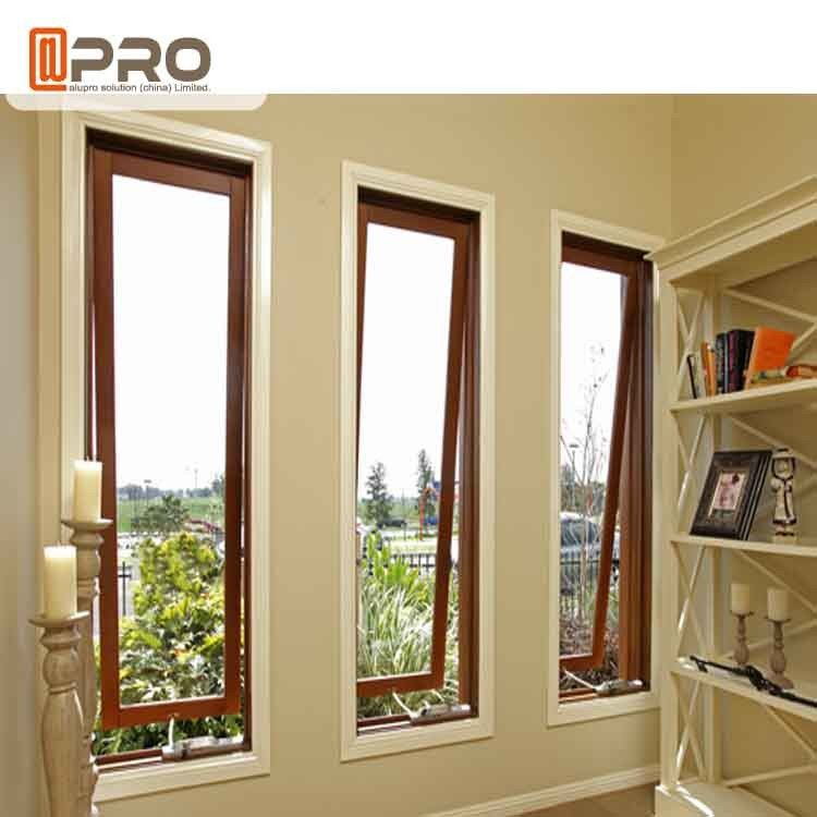 French Vertical Aluminium Double Glazed Awning Windows With Powder Coating french awning window price