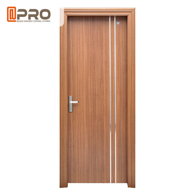 Soundproof Glass MDF Wooden Door / Interior Room Door Enviromental - Friendly