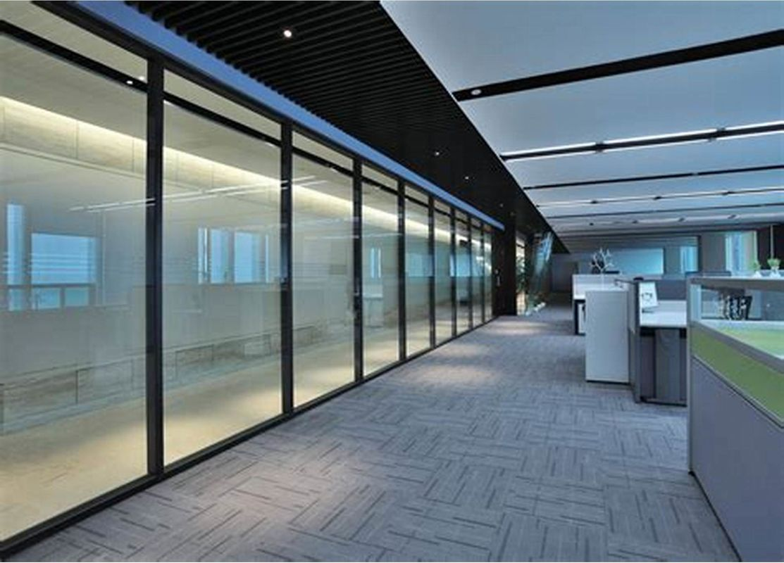 Frosted Glass Aluminium Profile Wood Partition Doors For Modern Office