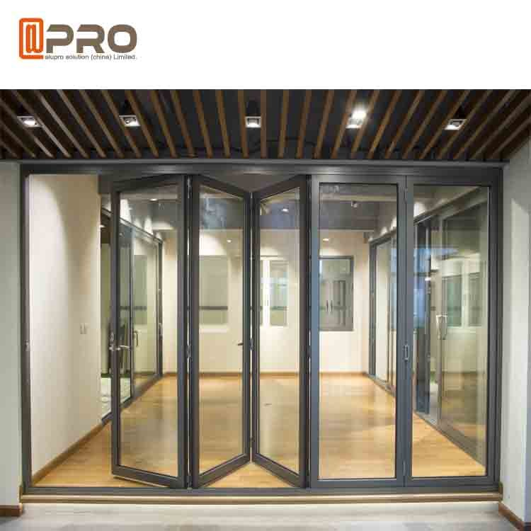 Aluminium Exterior Bi Fold Sliding Doors Foldable Glass Doors Iso Certification Folding Sliding Patio Doors