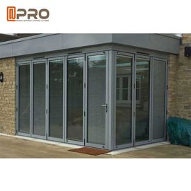 Durable Entrance Aluminum Folding Doors , Thermal Break Lowe Sound Insulation Bi Fold Door